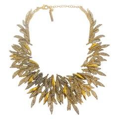 Oscar De La Renta gilt feather necklace set with diamantes