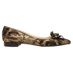 Oscar de la Renta Gold & Black Pointed-Toe Flats