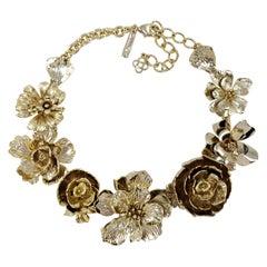 Oscar de la Renta Gold Bold Flower Rose Link Necklace in Antique Gold Finish