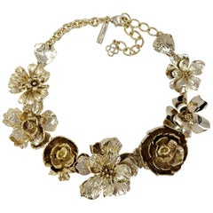 Oscar de la Renta Gold Bold Flower Rose Link Necklace in Antique Gold Finish