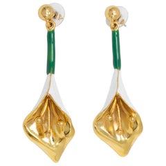 Oscar de la Renta Gold Calla Lily Dangle Earrings, White and Green Enamel