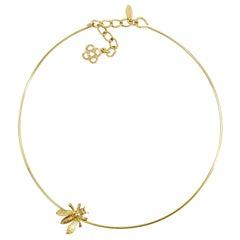 Oscar de la Renta Gold Critter Choker Necklace with Bee Motif, Contemporary