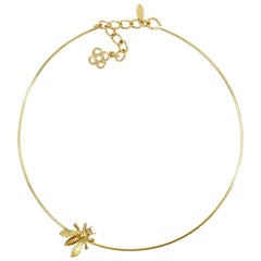 Oscar de la Renta Gold Critter Choker Necklace with Bee Motif, Contemporary