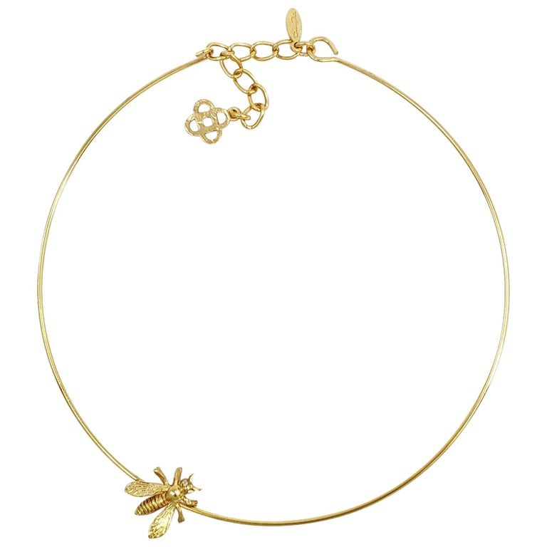 Oscar de la Renta Gold Critter Choker Necklace with Bee Motif, Contemporary For Sale