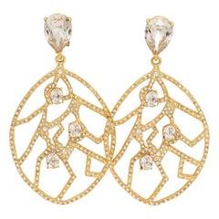 Oscar de la Renta Gold Crystal Dangling Statement Clip On Earrings