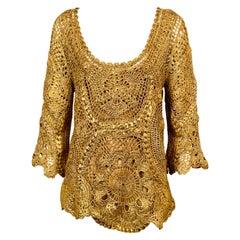 Oscar de la Renta Gold Hand Crocheted Silk Tunic and Camisole Original Tags