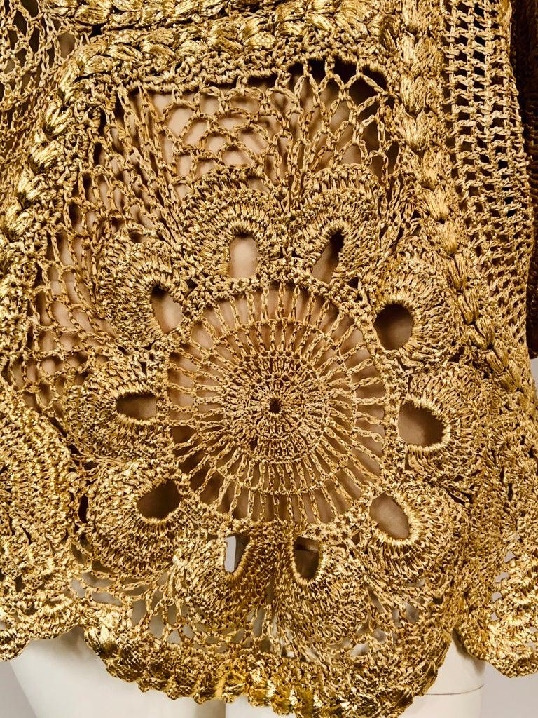 Women's Oscar de la Renta Gold Lacquered Hand Crocheted Silk Tunic with Original Tags  For Sale