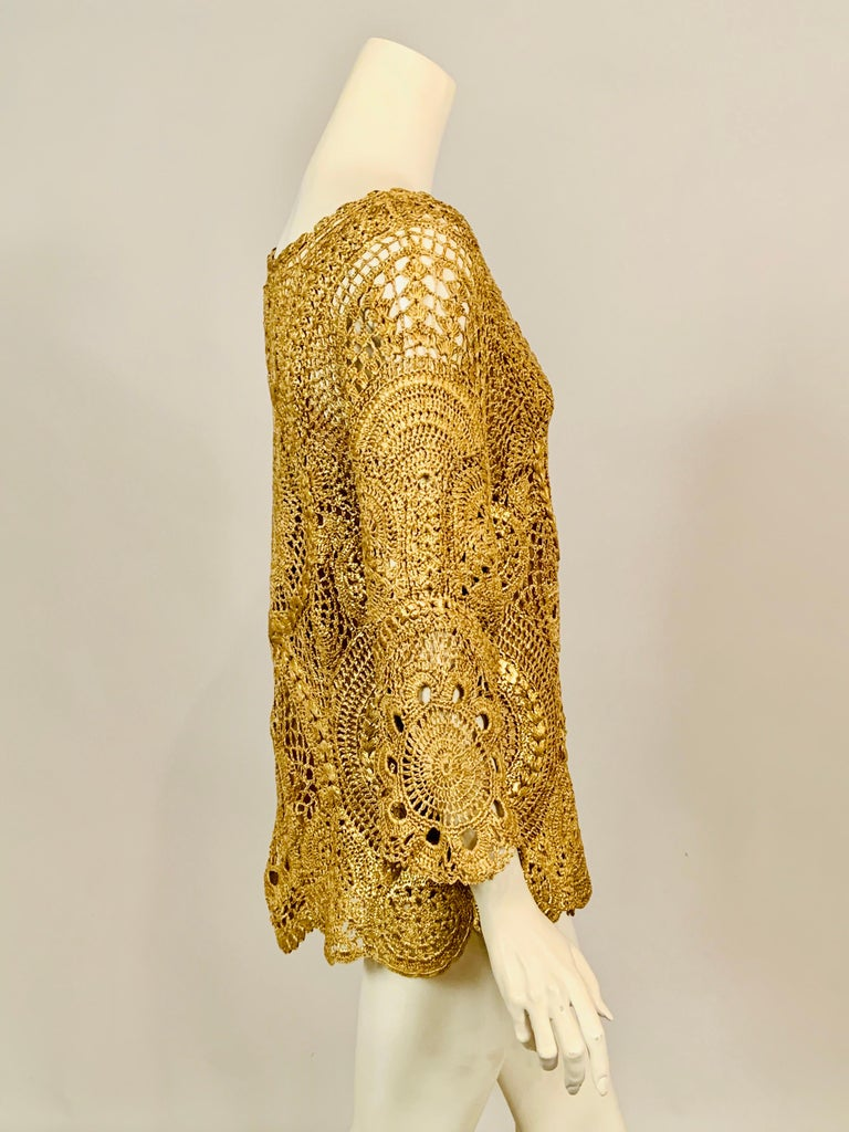Oscar de la Renta Gold Lacquered Hand Crocheted Silk Tunic with Original Tags  For Sale 1