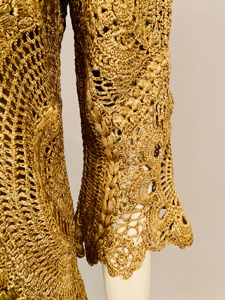 Oscar de la Renta Gold Lacquered Hand Crocheted Silk Tunic with Original Tags  For Sale 2