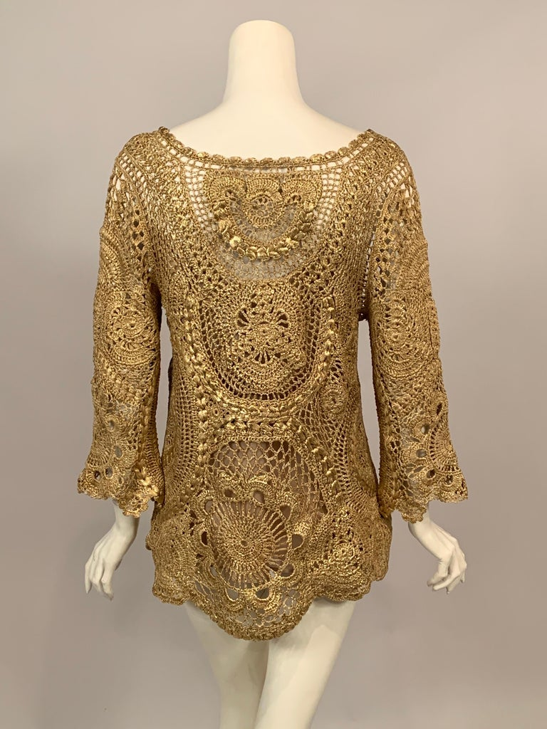 Oscar de la Renta Gold Lacquered Hand Crocheted Silk Tunic with Original Tags  For Sale 3