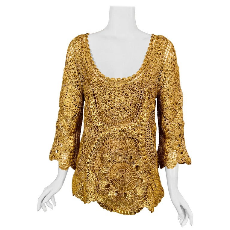 Oscar de la Renta Gold Lacquered Hand Crocheted Silk Tunic with Original Tags  For Sale