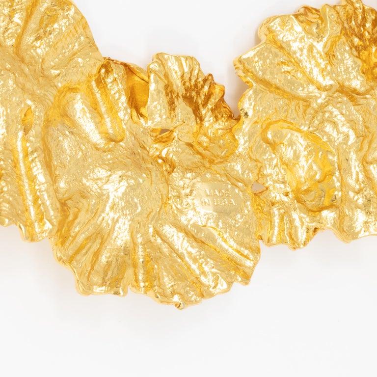 Oscar de la Renta Gold Leaf Collar Necklace, Contemporary For Sale 1