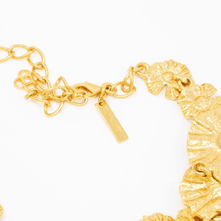 Oscar de la Renta Gold Leaf Collar Necklace, Contemporary For Sale 2