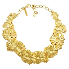 Oscar de la Renta Gold Leaf Collar Necklace, Contemporary
