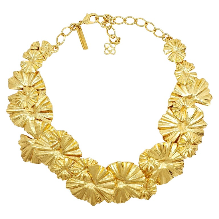 Oscar de la Renta Gold Leaf Collar Necklace, Contemporary For Sale