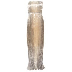Oscar De La Renta Gold Lurex Pleated Strapless Dress and Textured Jacket Set L