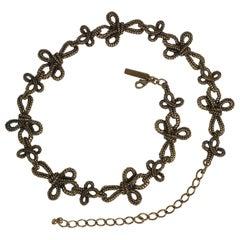 Oscar de la Renta Gold Metal Twisted Knot Chain Belt