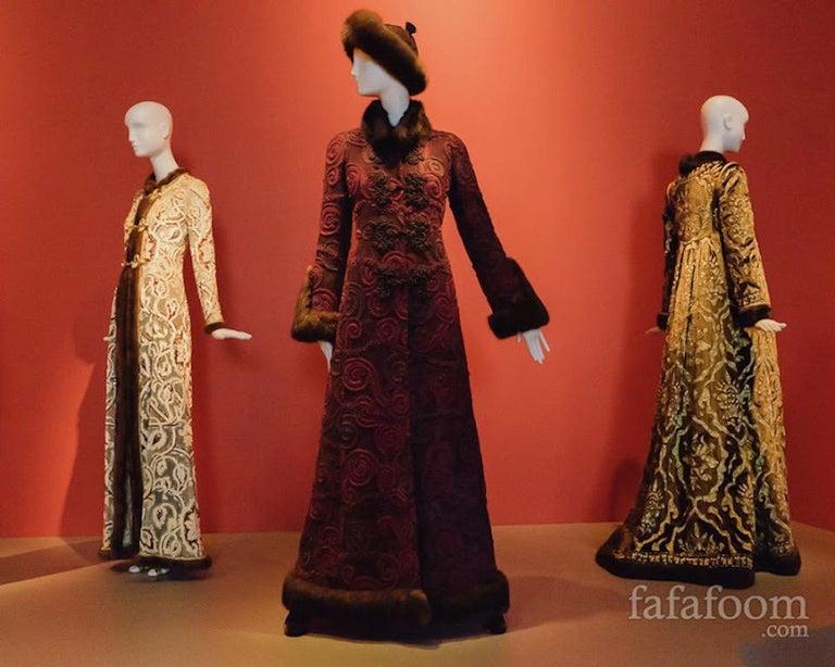 Oscar de la Renta Gold Metallic Brocade Sable Trim Evening Dress, c. Fall 1970 For Sale 10