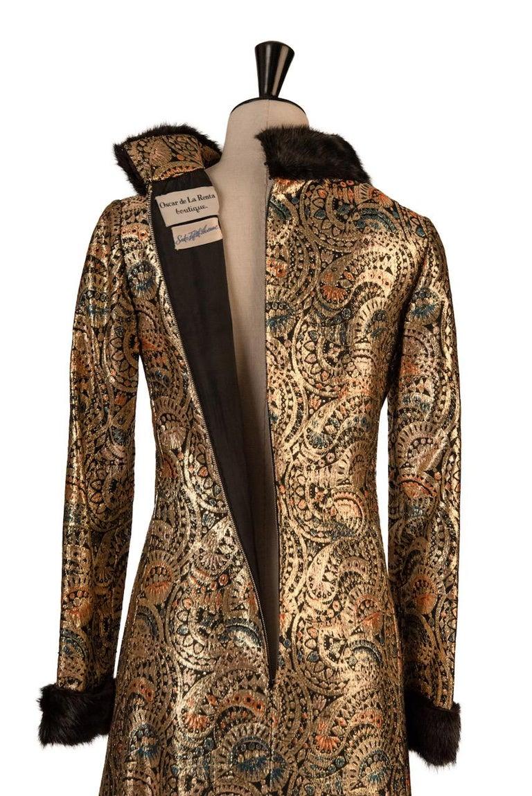Oscar de la Renta Gold Metallic Brocade Sable Trim Evening Dress, c. Fall 1970 For Sale 6