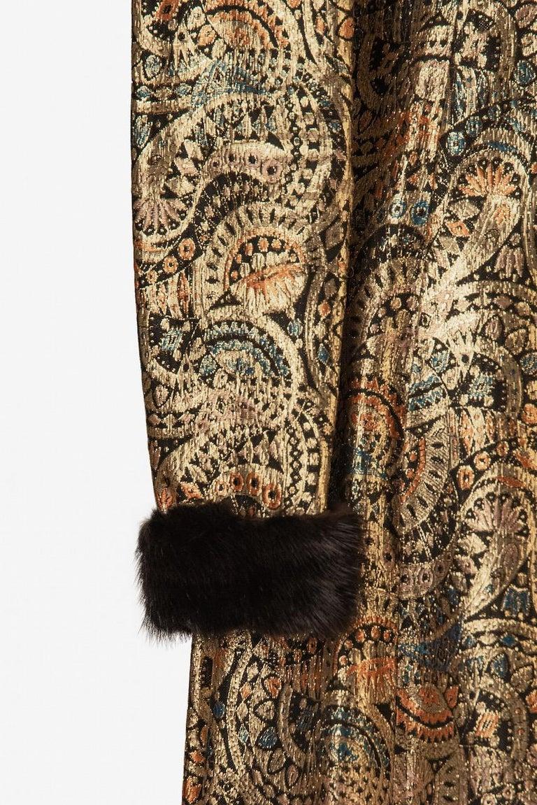 Oscar de la Renta Gold Metallic Brocade Sable Trim Evening Dress, c. Fall 1970 For Sale 4