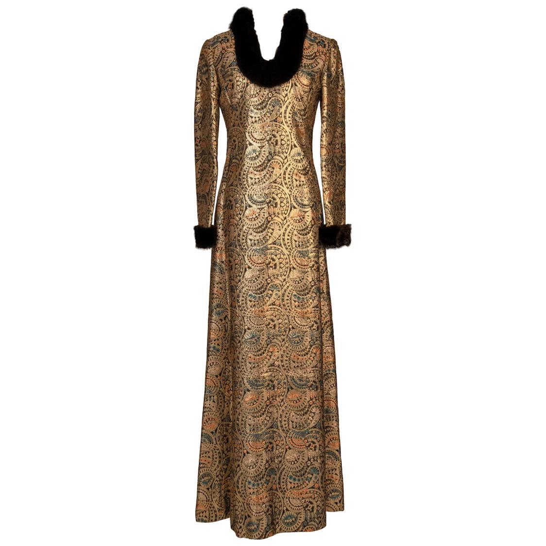 Oscar de la Renta Gold Metallic Brocade Sable Trim Evening Dress, c. Fall 1970