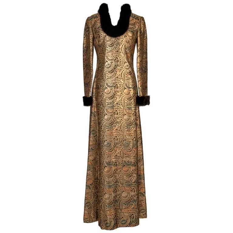 Oscar de la Renta Gold Metallic Brocade Sable Trim Evening Dress, c. Fall 1970 For Sale