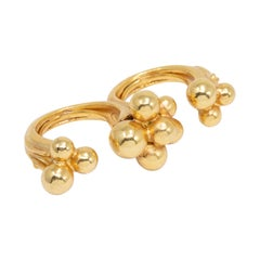 Oscar de la Renta Gold Mimosa Flower Two Finger Ring, Contemporary