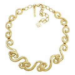 Oscar de la Renta Gold Motif Link Collar Necklace, Contemporary
