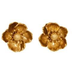Oscar de la Renta Gold Poppy Flower Clip On Earrings, Contemporary