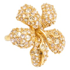 Oscar de la Renta Gold Pavé Flower Cocktail Statement Ring, Contemporary