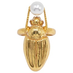 Oscar de la Renta Gold Scarab Faux Pearl Cocktail Ring , Modern Statement Style