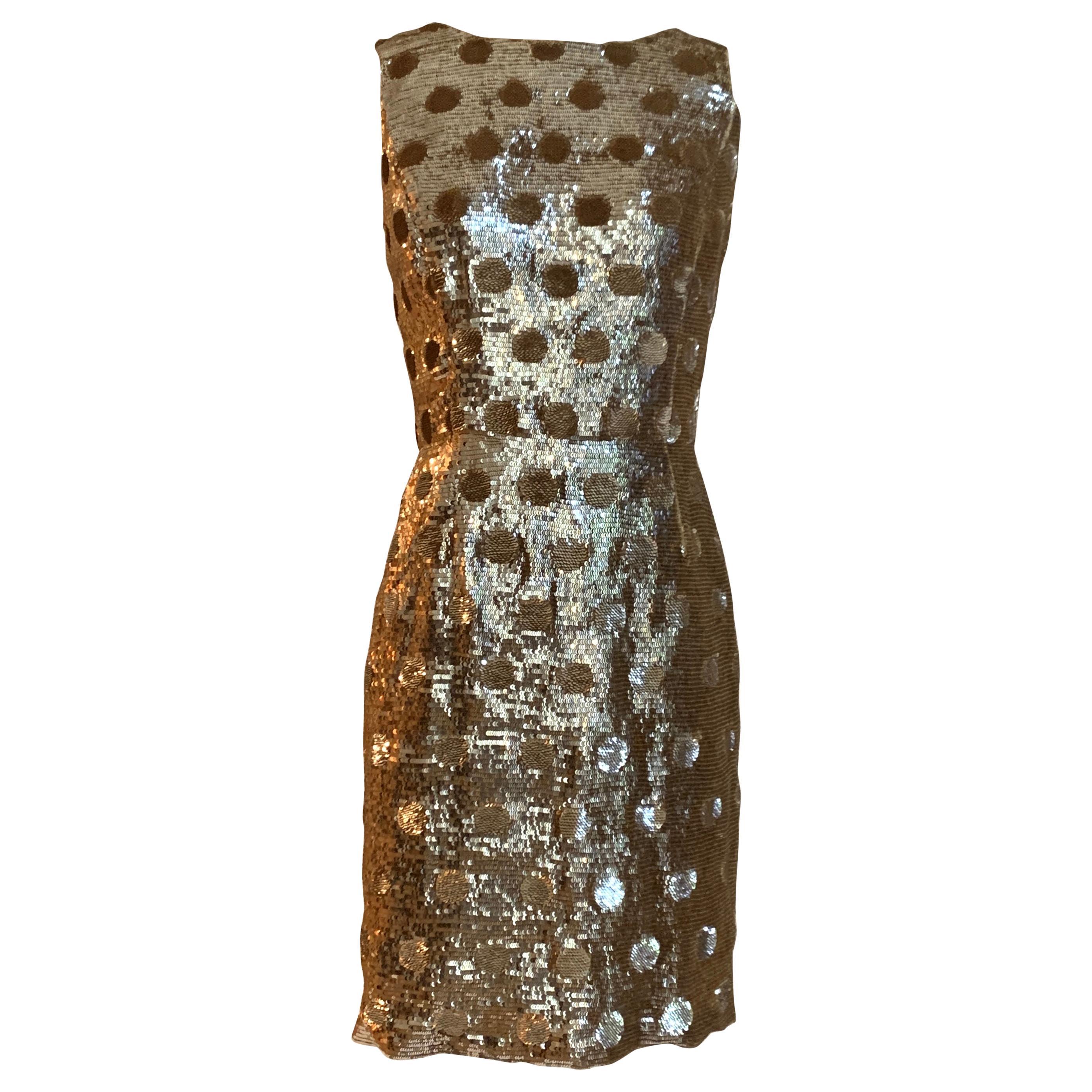 Oscar de la Renta Gold Sequin Polka Dot Sleeveless Cocktail Dress