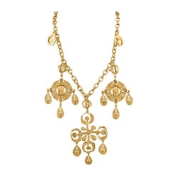Oscar De La Renta Gold Tone Cross & Shield Necklace/Belt