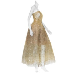 Oscar de la Renta Gold Tone Sequin Strapless Gown With Ostrich Feather Accents