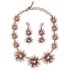 Oscar De La Renta Gold Tone Starburst and Faux Pearl Necklace Earrings Parure