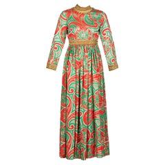 Oscar de la Renta Gold Trim Brocade Dress, 1960s