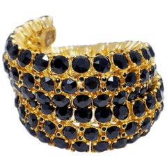 Oscar de la Renta Gold Twisting Bangle Bracelet, Black Swarovski Crystals