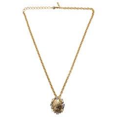 Oscar de la Renta Goldtone Chain Necklace w/ Crystal Cameo