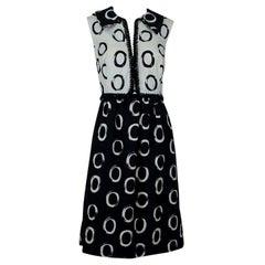 Oscar de la Renta Graphic Black and White Bead-Trim Shirtwaist Dress - L, 1960s