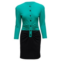 Oscar de la Renta Green & Black Long Sleeve Dress