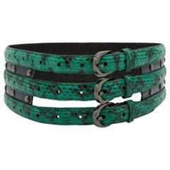 Oscar de la Renta Green & Black Snakeskin Belt