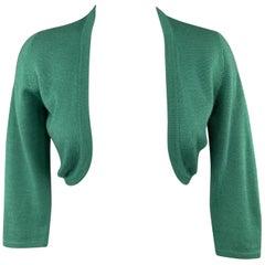 OSCAR DE LA RENTA Green Cashmere / Silk Bolero Cardigan