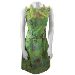Oscar de la Renta Green Floral Dress
