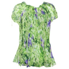 Oscar de la Renta Green Floral Print Chiffon Top L