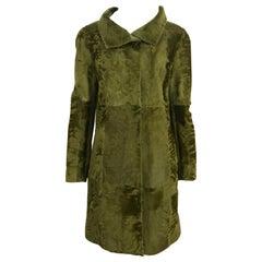 Oscar De La Renta Green Lamb Skin Fur Coat