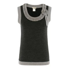 Oscar de la Renta Grey Wool Sleeveless Knit Top - Size XS