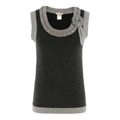 Oscar de la Renta Grey Wool Sleeveless Knit Top SIZE XS