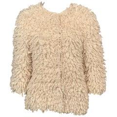 Oscar de la Renta Hand Knit Cream Cashmere/ Mohair Sweater Jacket Original Tags