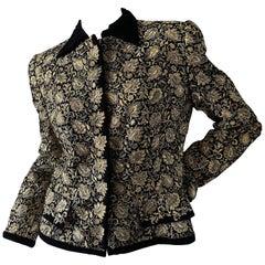 Oscar de la Renta Heavily Gold Embellished Black Velvet Vintage 1980's Jacket