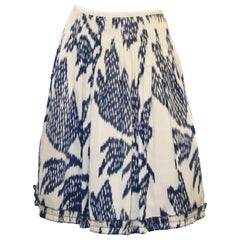 Oscar de la Renta Ivory & Sky Blue Pleated Skirt Size 6 US